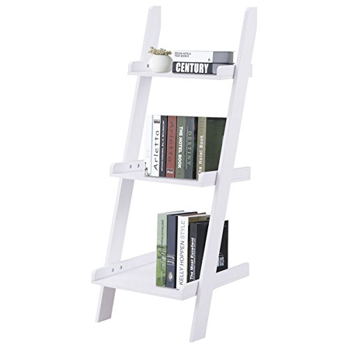 Magazine Ladder Rack (New White Bookcase Storage Rack Display Furniture 3 Tier Leaning Wall Ladder Book Shelf)