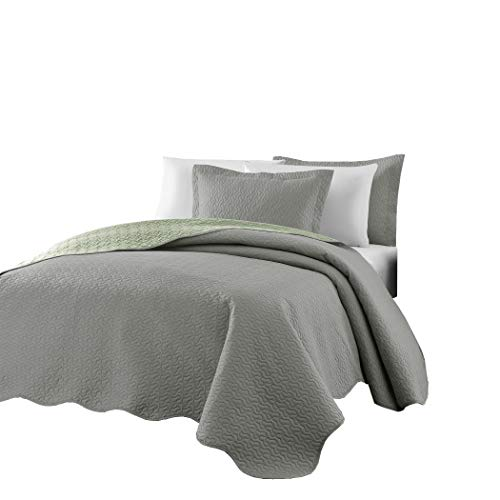 Chezmoi Collection Mesa 3-piece Oversized Reversible Bedspread Coverlet Set (Queen, Gray/Sage)