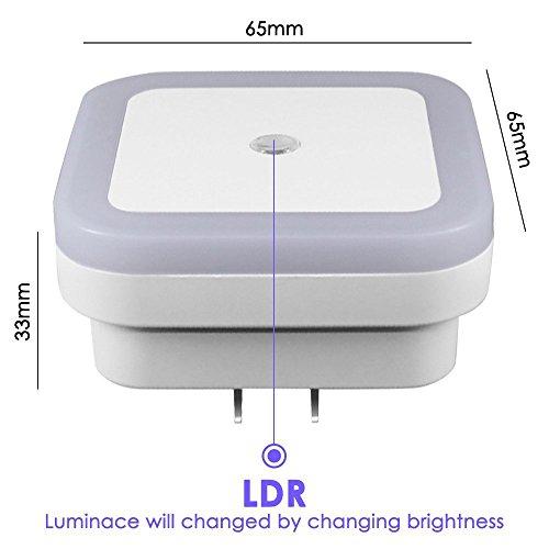 LED Night Light Lamp with Smart Auto ON/OFF Sensor 6 pack, KEKU 0.5W Plug-in LED Wall Night Light Lamp for Bedroom, Bathroom, Hallway, Stairways, or Any Dark Room Soft Brightness.(White)