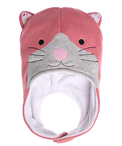 ERISO Baby Winter Hat Fleece Lined Knitted Beanie Earflap for Toddler Boy Girl (S/6-12 Months, Pink Cat)