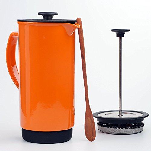 Ceramic French Press Coffee Press + Bonus Wooden Spoon (Carrot, 32 oz)