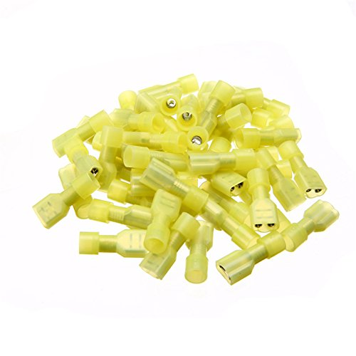 WILLAI Mayitr 50pcs Yellow 12-10AWG Female Spade Connectors Fully Insulated Nylon Crimp Connectors Terminals