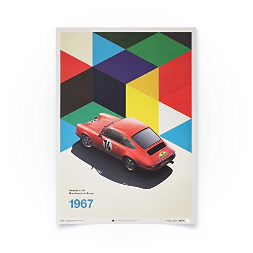 (Automobilist Store Porsche 911R - Marathon de la Route - Unique Design Limited Edition Poster - Standard Poster Size 19 ¾ x 27 ½ Inch)