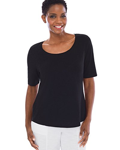 Chicos Womens Cotton Blend Slub Elbow Sleeve Tee Size 8 10 M  1  Black