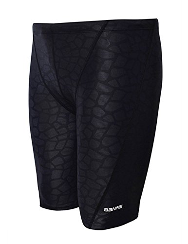 EASEA Men`s Rapid Swim Splice Quick Dry Jammer Swimsuit Black Prints - Mens Spandex Swimwear