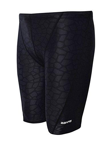 EASEA Men`s Rapid Swim Splice Quick Dry Jammer Swimsuit Black Prints - Mens Jammer