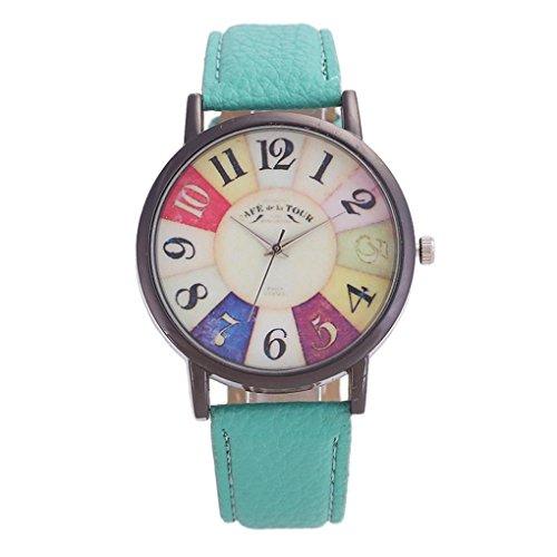 Price comparison product image Xiaosan Graffiti Pattern Leather Band Analog Quartz Vogue Wrist Watches (Green)