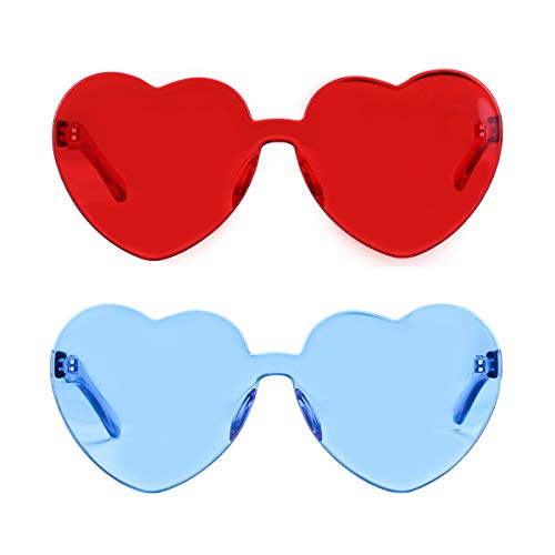 One Piece Heart Shaped Rimless Sunglasses Transparent Candy Color Eyewear (Red+Ice Blue) (Ice Eye Glasses)