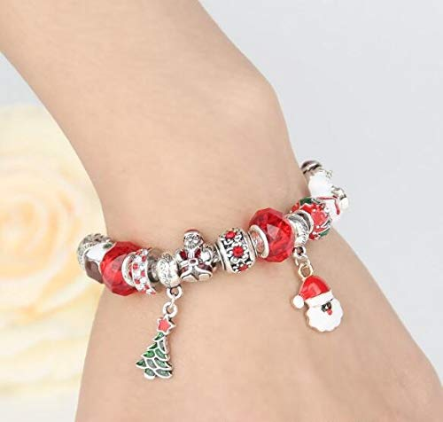 Auch Adjustable Christmas Charm Bracelet Snowmen Tree Pendant Bracelet Glass Bead Silver-Tone Complete Charm Beaded Bracelet Jewelry