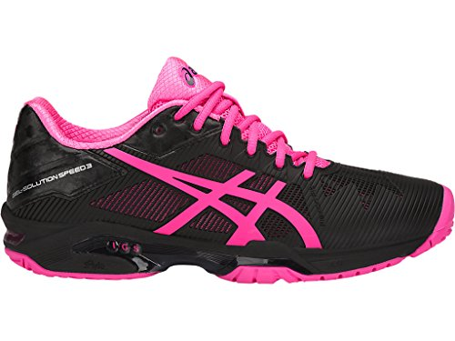 ASICS Womens Gel-Solution Speed 3 Sneaker, Black/Hot Pink/Silver, Size 9