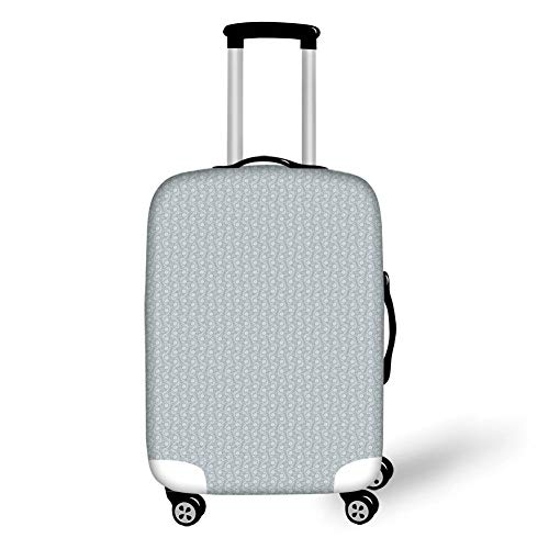 Travel Luggage Cover Suitcase Protector,Damask,Wavy Floral Design with Full Daisy Blossoms and Curlicues Spring Meadow Pattern,Grey White,for TravelL 25.9x37.8Inch ()
