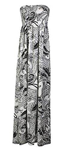 Fashion Charming de mujeres Plus Size Floral Paisley de impresión sheering máxima de vestido de verano Paisley Black