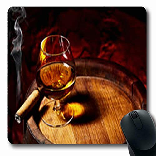 Pandarllin Mousepads Wineglass Cognac Cigar On Old Cigarillos Oak Barrel Food Drink Strong Oblong Shape 7.9 x 9.5 Inches Oblong Gaming Mouse Pad Non-Slip Rubber - Cigarillos Cognac