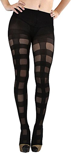 (ToBeInStyle Women's Spandex Pantyhose With Opaque Checkered Design)