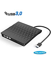 $20 Get External CD DVD Drive, USB 3.0 Slim External CD/DVD +/-RW Drive Writer Rewriter Burner, DORISO High Speed Data Transfer External DVD Drive for Laptop/Mac/Desktop/MacOS/Windows10/ 8/7