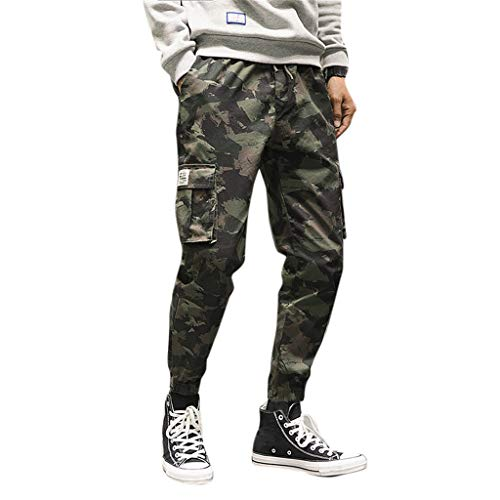 (DONTAL Combat Trousers Men's Loose Cotton Camouflage Nine-Minute Haren Trousers Overalls Pants Green )