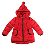 Harpia Girls Down Jackets, Winter Autumn Thick Hooded Padded Coats(Red,4-5 Years Old)