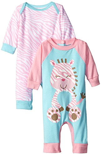 Gerber Baby-Girls Newborn 2 Pack Coverall, Zebra, Newborn