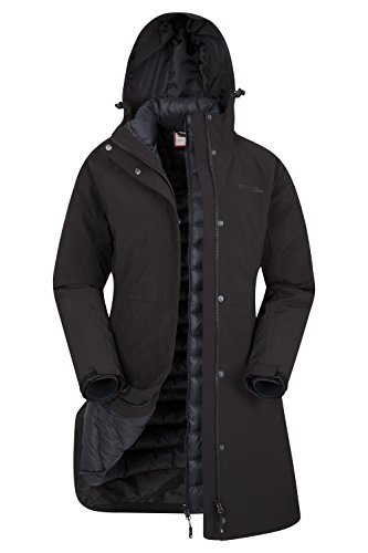 Mountain Warehouse Alaskan Womens 3 In 1 Long Jacket & Inner Fleece Black - Womens Warehouse