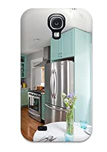 Hot Tpu Cover Case For Galaxy S4 Case Cover Skin Stainless Appliances In A Kitchen With Hardwood Floors And Teal Cabinets