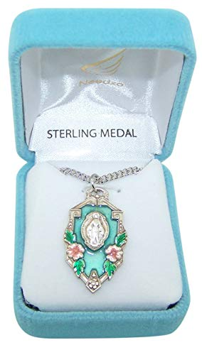 (Sterling Silver Miraculous Medal Pendant with Blue Enamel, 1 1/5 Inch)