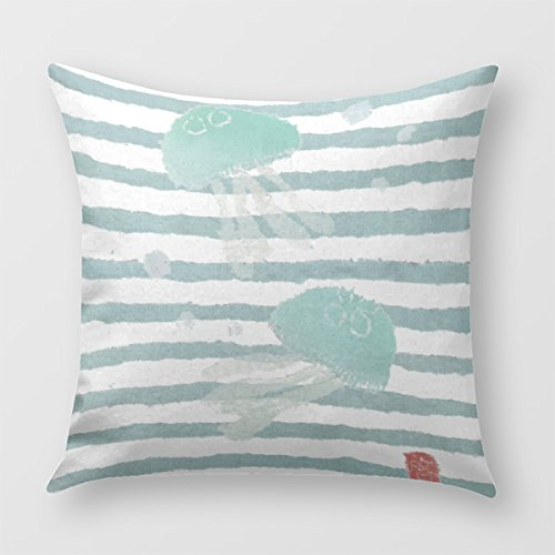 Jellyfish On Aqua Beach Themed Blue Stripe Throw Pillow Cover - Beachfront Decor