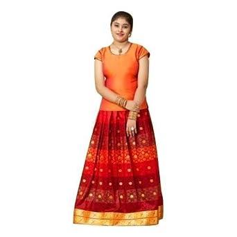 Eazhil Fashions Girls - Pattu Pavadai Sattai Traditional South Indian Srilankan Festival (3 Years)
