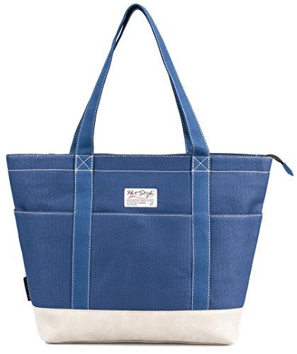 HotStyle AMY Womens Canvas Top Zip Tote Bag Laptop Handbag - Sapphire/Grey