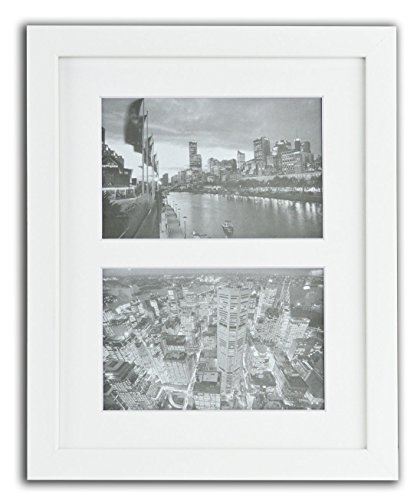 Golden State Art, 8x10 White Photo Wood Collage Frame with REAL GLASS and White Mat displays (2) 4x6 pictures (Frames Glasses 2015)