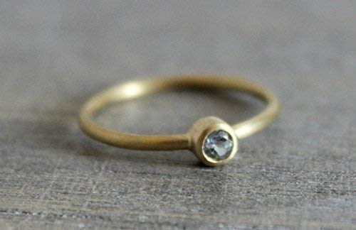 Blue Topaz Gemstone 14kt Yellow Gold Stacking Ring, Size 6