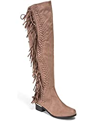 Lady Couture Mircosuede Fringe Womens Knee Length Boots by Fringe