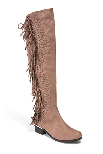 Lady Couture Mircosuede Fringe Women's Knee Length Boots Fringe PAUPE 39 Taupe