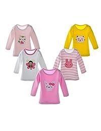 DANROL Baby Girls 5-Pack Cartoon Long Sleeve Tees