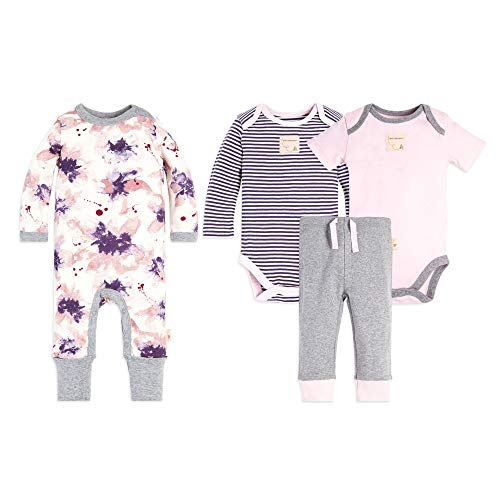 Burt's Bees Baby Baby 4-Piece Clothing Set, Bodysuit, Romper Pant Bundle, 100% Organic Cotton, Exploded Petals, 24 Months