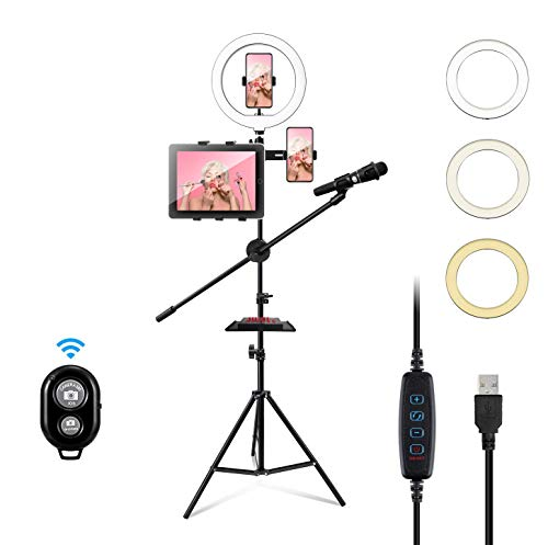 10″ LED Ring Light with Tripod Stand & Cell Phone Holder for Video Live Stream/Photography, Live Stream Kits Ring Fill Light for YouTube TikTok Video Live Stream/Selfie/Makeup (10 inches)