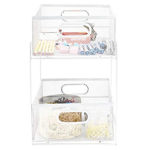 Mind Reader Sliding Metal Baskets, Cabinet Storage Organizer, Home, Office, Kitchen, Bathroom, One Size, White 2 Tier…