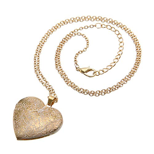 Retro Heart-Shaped Necklace Locket Mini Photo Frame Box Pendants For Women Charm Carved Jewelry By Lmtime(Gold)