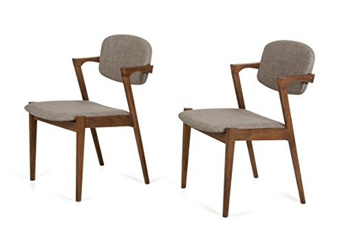Limari Home Illyria Collection Scandinavian Design Inspired Modern Upholstered Linen Fabric and Wooden Dining Chairs, Sesame, Set of 2