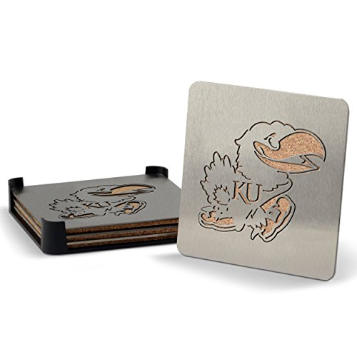 NCAA Kansas Jayhawks Boasters, Heavy Duty Stainless Steel Coasters, Set of (Kansas University Desk)