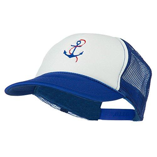 Anchor Chain White Cap (E4hats Anchor with Chain Embroidered Foam Mesh Back Cap - Royal White OSFM)