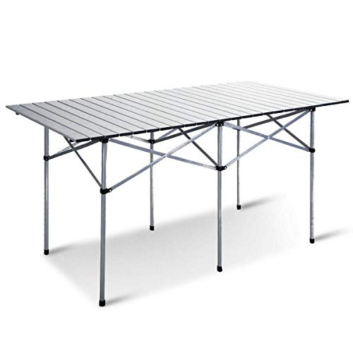 AVGDeals 55″ Roll Up Portable Folding Camping Square Aluminum Picnic Table w/Bag   Ideal for Family Reunions, Picnics, Camping Trips, Buffets Or Barbecues