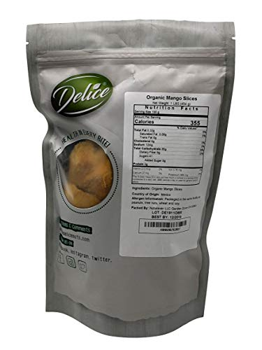 DELICE - Organic Dried Mango Slices | No added Sugar and Artificial Flavors | No Sulphure and NON-GMO| All Organic and Just Mango Slices In Resealable Bags!!! (1 LB)