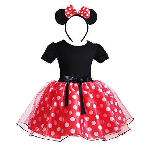 CQDY Minnie Mouse Costume Fancy Cosplay Halloween Girl Dance Dress with Ear Headband Polka Dot Dress for 12M-5T Red]()