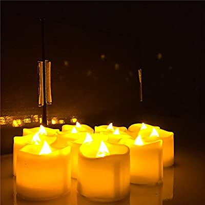 Youngerbaby Amber Yellow Flameless Candles With Timer - 6 hrs On 18 hr Off - Battery Operated Candles, Flickering LED Tea lights For Wedding,Party and Birthday