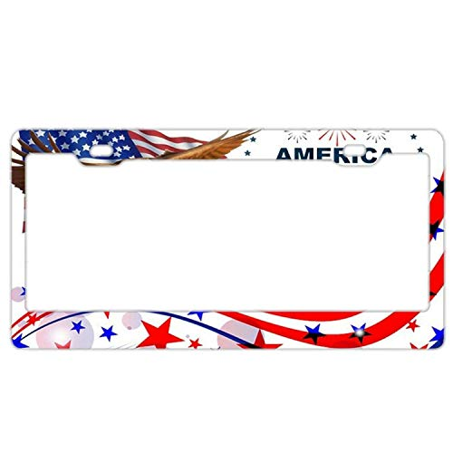 Racing angel Personalized Auto Truck Car Front Tag Humor Funny Aluminum Metal License Plate Frame Cover 12 x 6 Inches. American Flag Bald Eagle July 4