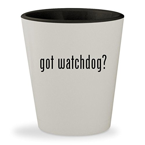 got watchdog? - White Outer & Black Inner Ceramic 1.5oz Shot Glass (Rex Dog Alarm)