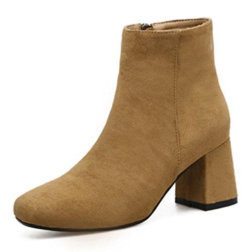 Aisun Braun Kurzschaft Reißverschluss Stiefel Mit Blockabsatz Damen Mittelhoher Elegant Quadratische Zehe gHgrx
