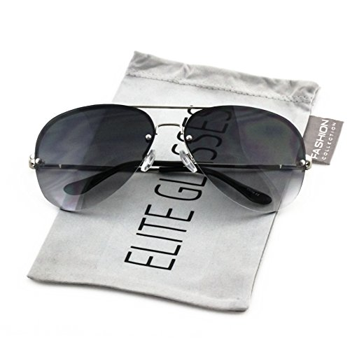 Elite Gradient Oceanic Lens Oversized Rimless Metal Frame Unisex Aviator Sunglasses (Silver Frame/Smoke Black Lens, - Gradient Sunglasses