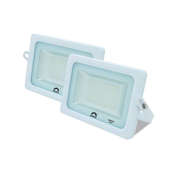 Pack de 2 Focos LED Exterior T-SPACE Blanco · Proyector LED Extraplano 15W con Chip Interior OSRAM · Focos LED con 1650 Lúmenes · Medidas: 115mm x 95mm · 5 Años de