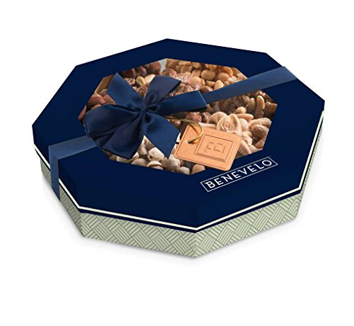Holiday Freshly Roasted Gourmet Food Nuts Gift Basket, 1.5 lbs of 7 Different Nuts, Vegan Friendly & Heart Healthy